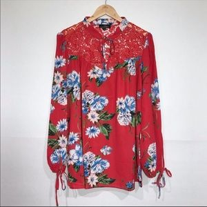 NWOT Suzanne Betro Red Floral Lace Peasant Blouse
